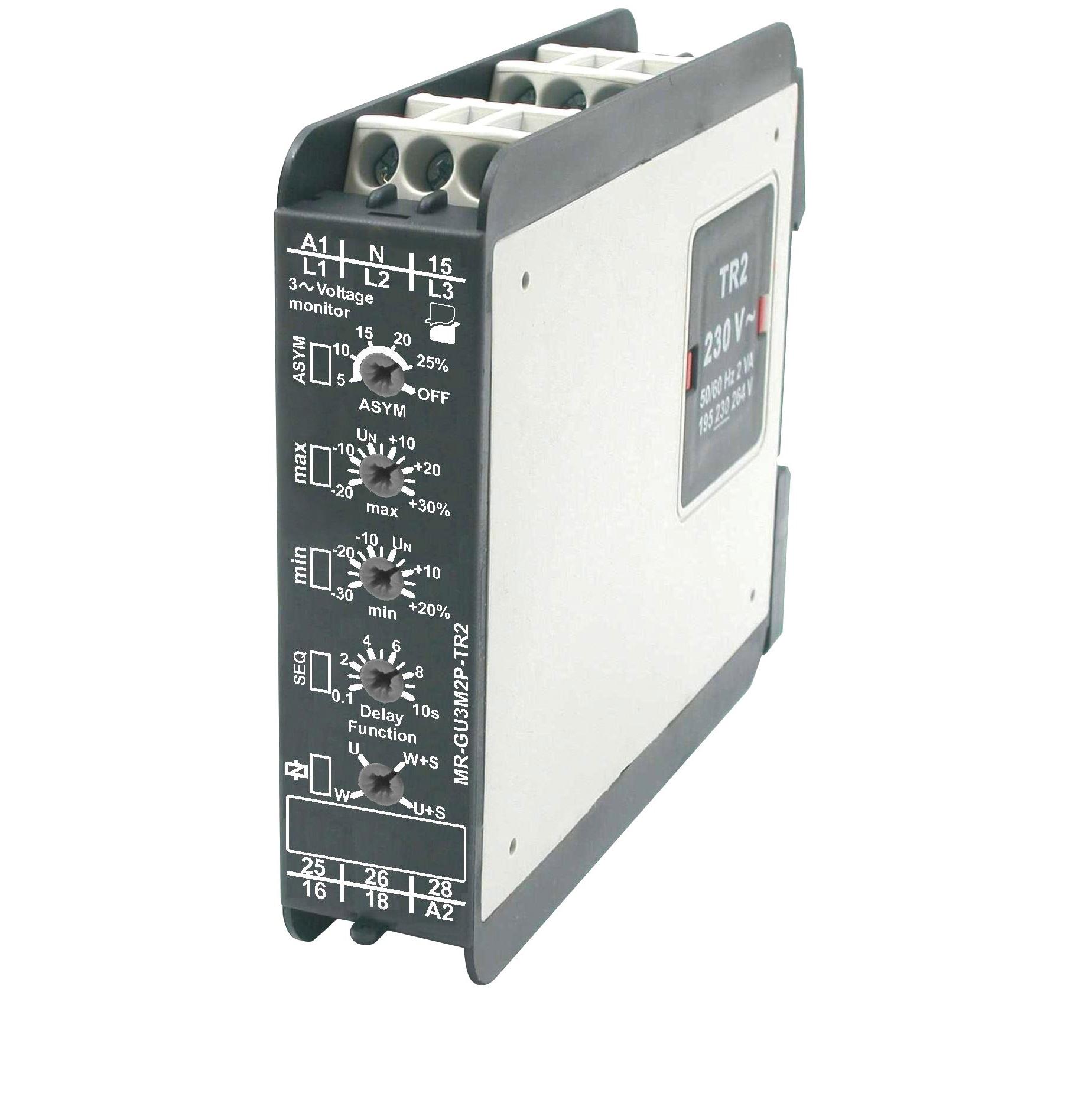 МР-GU3M2P-TR2 реле контроля напряжения для 3-фазных сетей