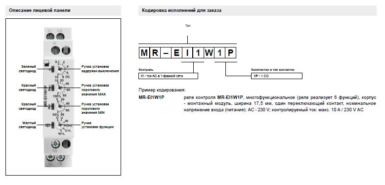 реле MR-EI1W1P описание лицевой панели и кодировка исполнений для заказа