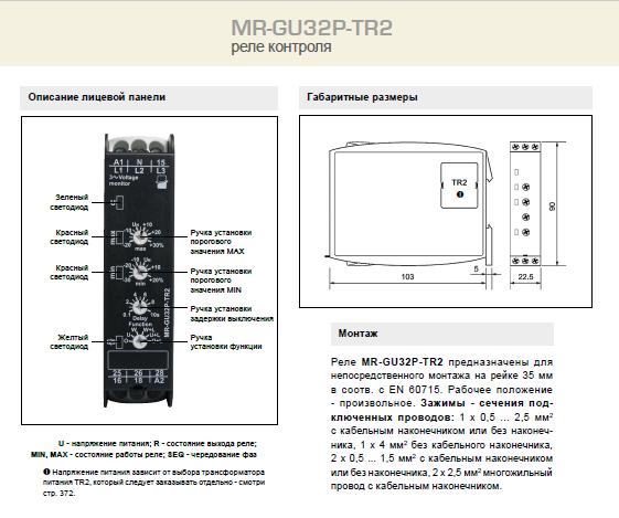 MR-GU32P-TR2 - описание лицевой панели, габаритные размеры и монтаж