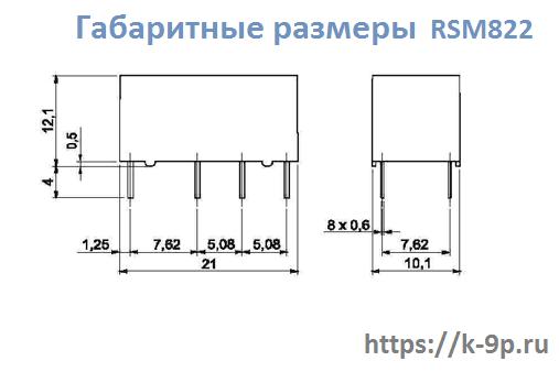 габаритные размеры реле RSM822